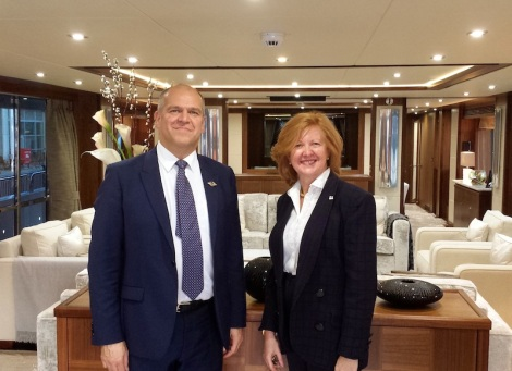 Sunseeker Cheshire's Jonathan Kingsley welcomed Deputy Major of London, Victoria Borwick, aboard the Sunseeker 40 Metre Yacht at the London Boat Show