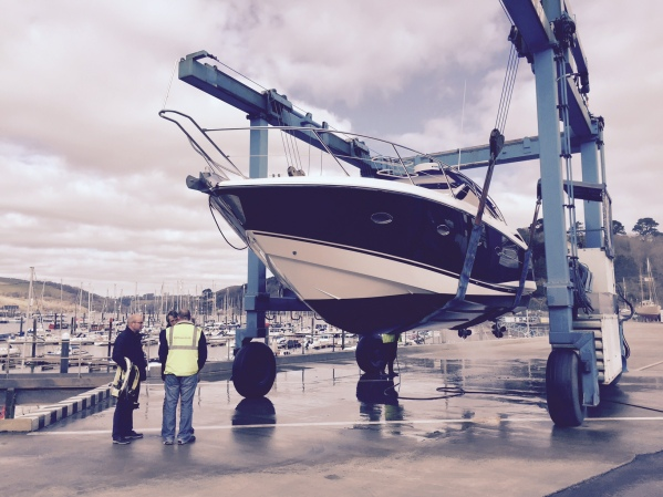 """The Sunseeker Portofino 35 """"MEERU"""" is lifted at Darthaven by Sunseeker Torquay for her pre-purchase survey"""