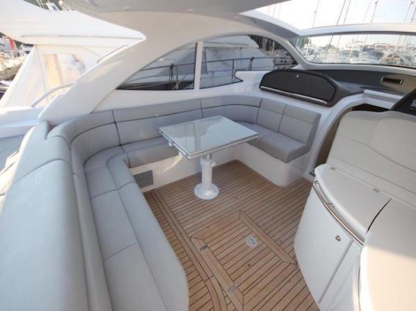 The cockpit is open and spacious, perfect for Mediterranean boating