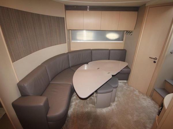 """The light and modern interior onboard """"SEA BISCUIT IV"""" is sleek and inviting, with high quality leathers and finishes"""
