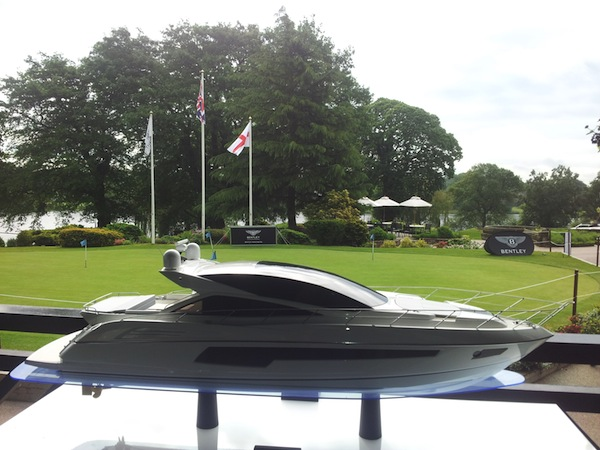A Sunseeker Predator 68 model overlooks the grounds at The Mere Resort & Spa in Knutsford