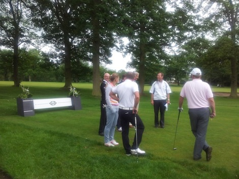 Competitors for the Bentley Manchester Golf Event gather on the course