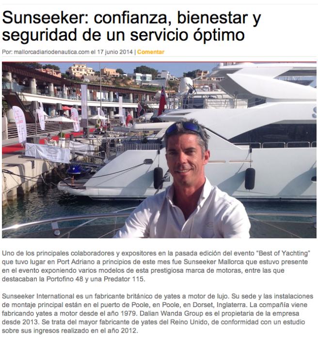 Sunseeker Mallorca was recently featured in Mallorca Diario de Nautica