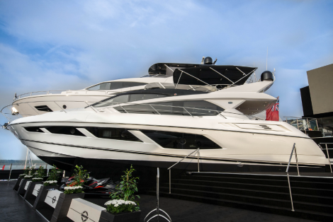 The Manhattan 65 pictured on the famous Sunseeker stand at the Southampton Boat Show