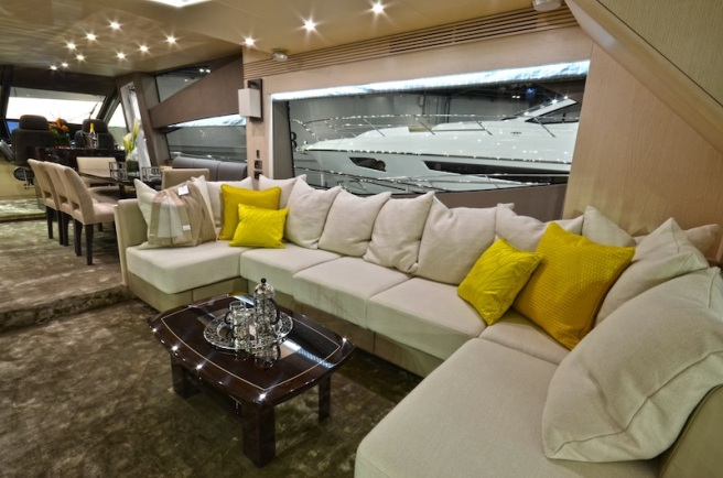 New floor levels aboard the 75 Yacht create more internal volume, and therefore, space