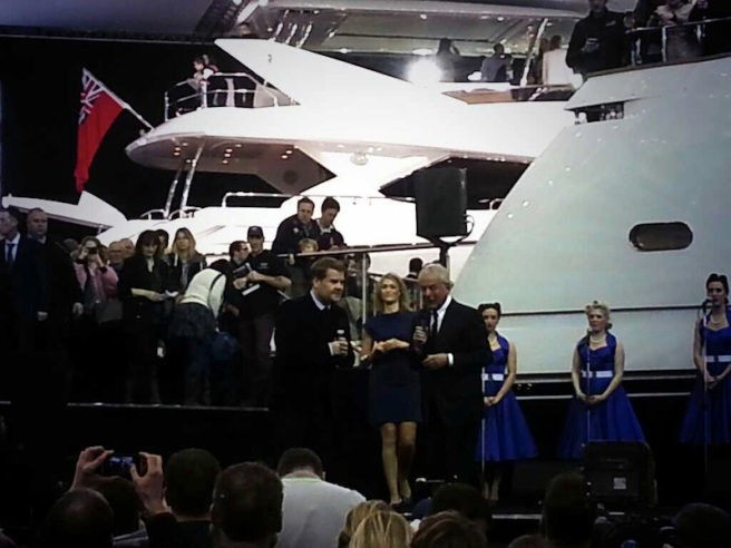 James Corden joined Sunseeker founder Robert Braithwaite to open the Sunseeker stand and launch the 75 Yacht at the London Boat Show