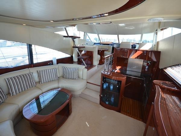 "Accommodating up to 7 guests, the Fairline Squadron 58 ""CHILDSPLAY"" is spacious and inviting"