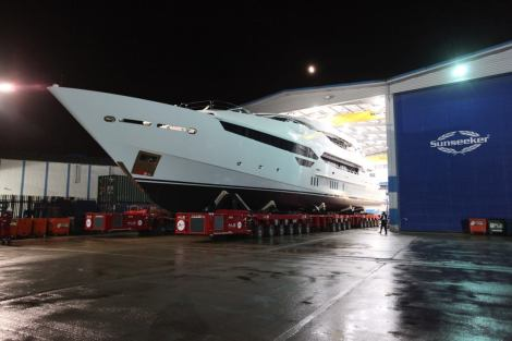Gradually does it: The 155 Yacht is eased out of the Sunseeker International build shed