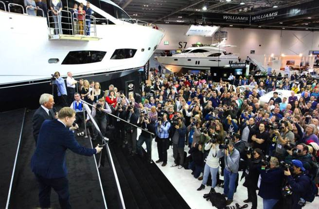 1,500 guests gathered to witness James Corden and Robert Braithwaite CBE launch the new Sunseeker 75 Yacht at London Boat Show