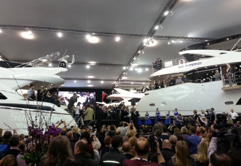 Crowds gathered to see the launch of the 75 Yacht at London Boat Show