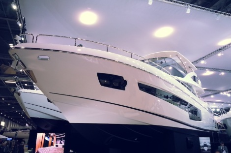 Star of the show: The all-new 75 Yacht on display on the Sunseeker stand at the London Boat Show