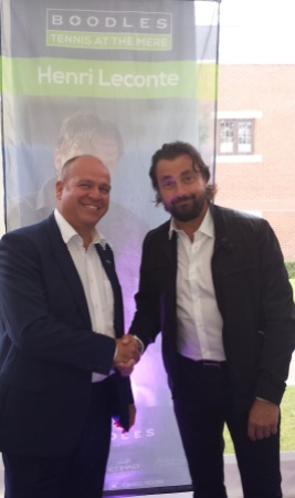 Sunseeker Cheshire's Jonathan Kingsley meets exhibition tennis favourite Henri Leconte at the Boodles Classique