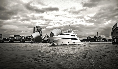 The Sunseeker 40 Metre Yacht motoring through the Thames Barrier