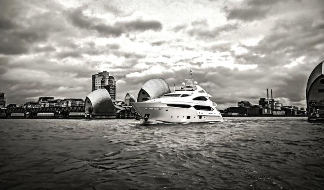 The Sunseeker 40 Metre Yacht motoring through the Thames Barrier