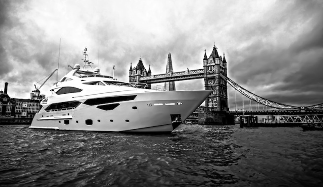 A British icon: The Sunseeker 40 Metre Yacht with London's Tower Bridge in the background