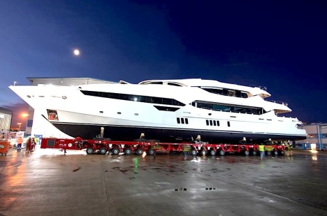 The almost complete Sunseeker 155 Yacht moves out of her production hangar to begin her final build and testing phases