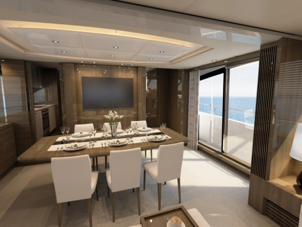 The 86 Yacht will feature the trademark Sunseeker sliding bulwark doors and balcony