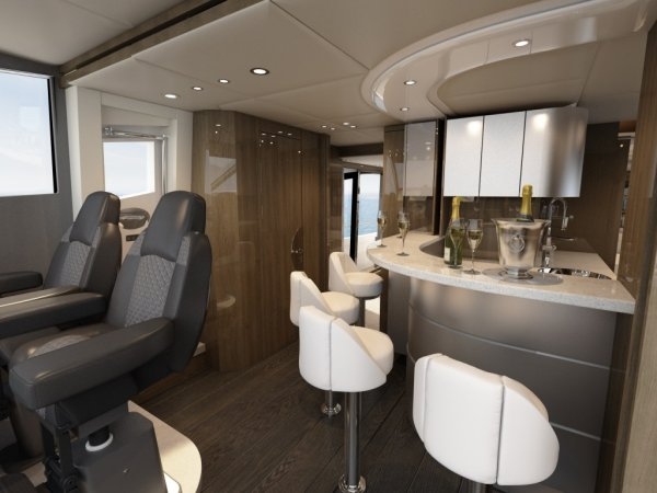 Introducing a new style of galley that can accommodate an Owner/Operator as well as a crewed option, the breakfast bar-esque design is something totally different