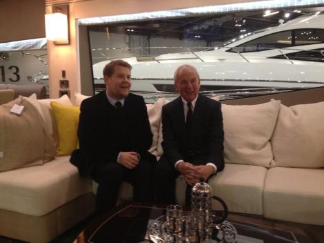 James Corden and Robert Braithwaite after the launch of the Sunseeker 75 Yacht