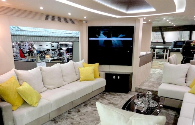 "Well that's different! The entirely new saloon of the 75 Yacht integrates a 55"" TV into the bulkhead"