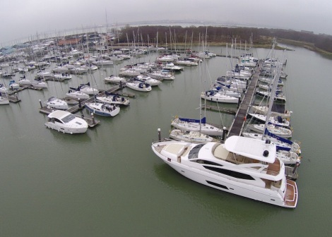 The hammerhead berth at Hamble Point Marina, seen here accommodating a Sunseeker Manhattan 73, is 22m x 8m and invites offers on £175,000