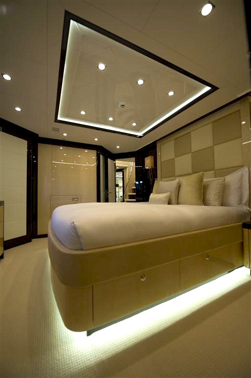 "Contrasting ceiling inlays and clever lighting onboard ""SEA RAIDER V"" make for a very 'design-led' feel"