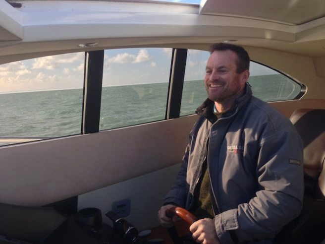 Skipper Mark Taylor and Sunseeker Torquay Sales Director, Tom Wills, transported the boat across the channel to Sunseeker Channel Islands Dealer Principal, Simon Coward
