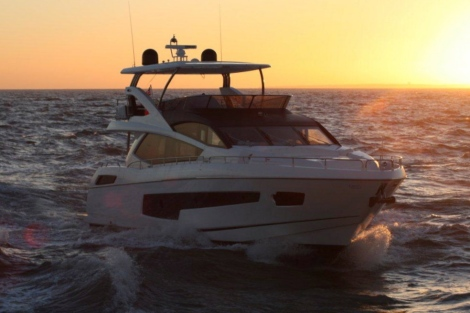 The Sunseeker 75 Yacht under way from Poole Harbour to London Docklands