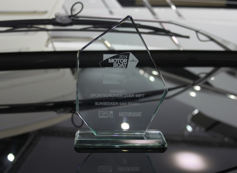 "The coveted ""best sportscruiser over 45ft"" award on board the San Remo at the London Boat Show"