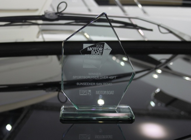 """The coveted """"best sportscruiser over 45ft"""" award on board the San Remo at the London Boat Show"""