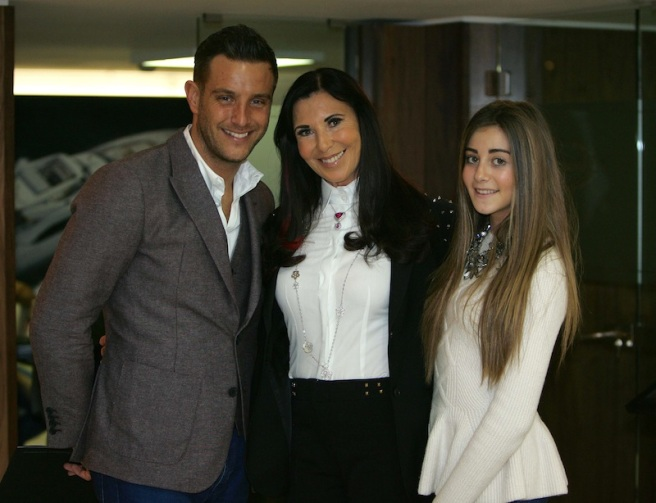 Elliott Wright, pictured here with Alexis Lewis and Megan Gerlis, visited Sunseeker at the London Boat Show