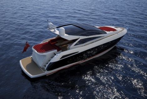 Red, white and blue: The Predator 57 offers 2 deck options - Patio Door or Open Cockpit - allowing for flexibility between a fully fitted saloon or a Mediterranean style wet cockpit