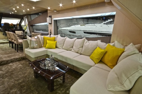 Have a seat: The 75 Yacht's expansive sofas and lounging areas