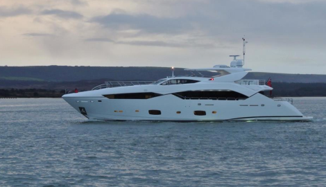 The Sunseeker 115 Sport Yacht was pictured leaving Poole Harbour last week (in time for the New Year!)