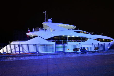 The Sunseeker 115 Sport Yacht in her full glory at the London Boat Show