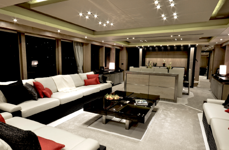The 115 Sport Yacht's stunning bespoke interiors were designed by the Sunseeker International team