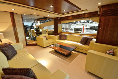The stunning interior of the Sunseeker 80 Yacht at the London Boat Show