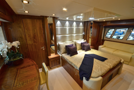 The Full Beam Master Suite onboard the 80 Yacht is reassuringly capacious