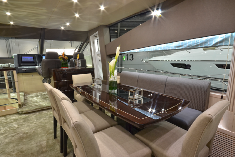 By adding a small step in the forward Saloon seating area, the lower deck levels have been afforded more space in the 75 Yacht, allowing for Fin Stabilisers to be fitted without impinging the Master Cabin ensuite