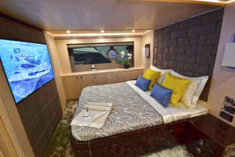 Exotic textures and finishes give a sumptuous feel to the Master Cabin, which is incredibly spacious