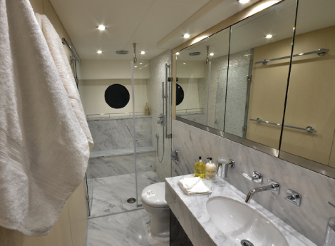All about the ensuite: Each of the 4-cabins onboard the 75 Yacht has its own ensuite bathroom