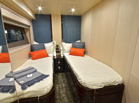 Plenty of room: The Sunseeker 75 Yacht offers two spacious Guest Cabins in a Double and Twin arrangement