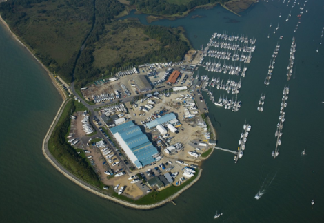 An aerial view of Hamble Point Marina, which offers great access to the surrounding waters