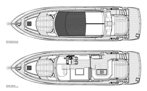 Exterior Layout: The Open Cockpit and Closed Patio Door (Standard) option sets the Predator 57 aside from her competition