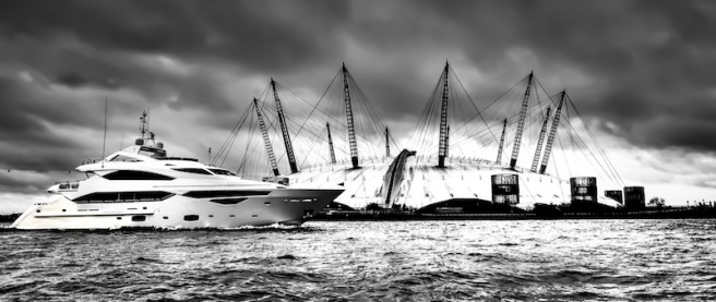 A sight to behold: A rare glimpse of the tri-deck 40 metre superyacht passing the 02 Arena, photographed by Sunseeker London