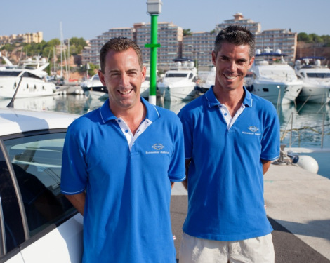 The Sunseeker Mallorca Sales Team comprises of Andrew Thomas (L) and Teddy Torkington (R)