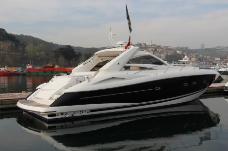 """The Portofino 53 """"AQUAHOLIC"""" was one of the Sunseeker boats on display during the Spring Open Weekend in Istanbul"""