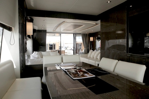 "A stunning grey interior of the Sunseeker 75 Yacht ""NIGHT LIFE Z"""