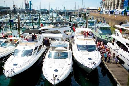The Sunseeker display is always one of the most popular at the Jersey Boat Show, which draws in thousands of visitors to St Helier Marina