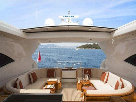 The open layout of the upper deck is an attractive feature of the Mangusta 72